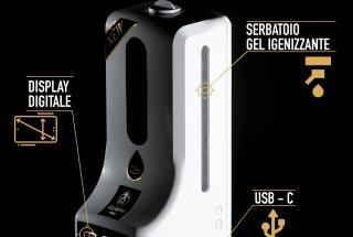 NOVITA': Erogatore di gel igienizzante con Termoscanner incorporato
